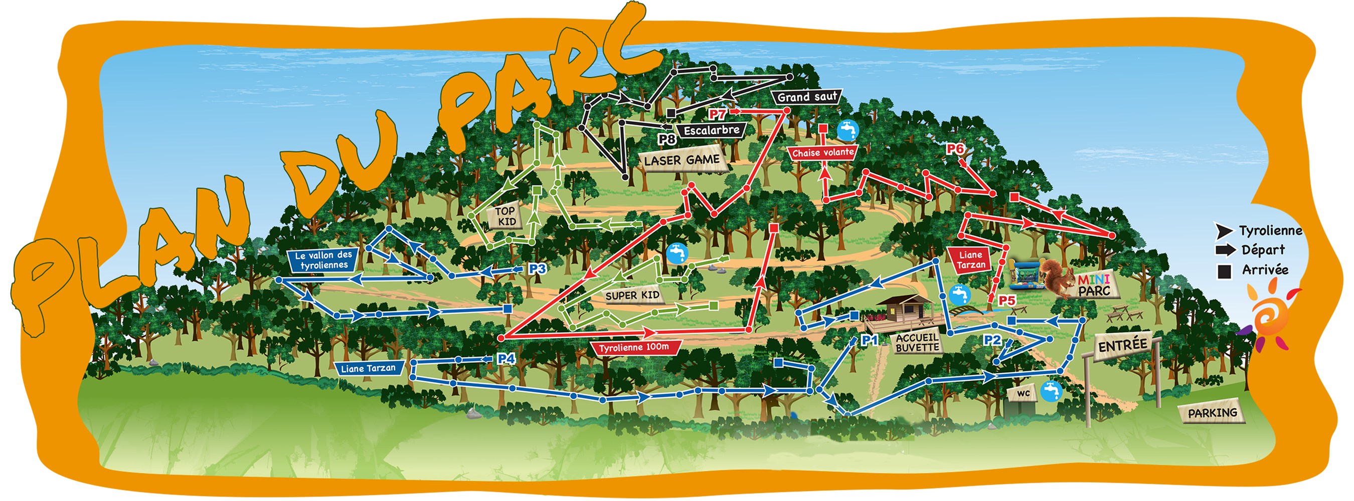 Plan de notre parc aventure en Cévennes